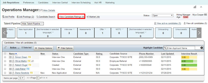 Interview Central in SuccessFactors Dashboard Screenshots