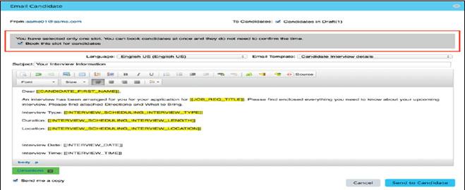 Interview Central in SuccessFactors Dashboard Screenshots