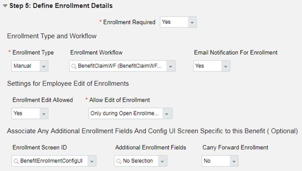 Define Enrollment Details