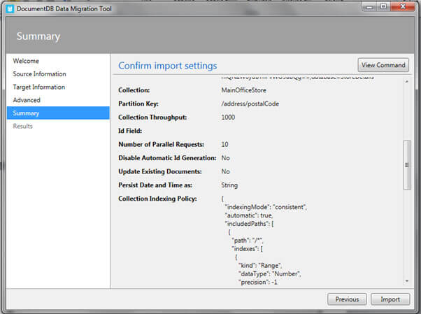 confirm import settings